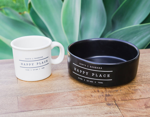 NEW! Santa Barbara Happy Place Mug & Dog Bowl