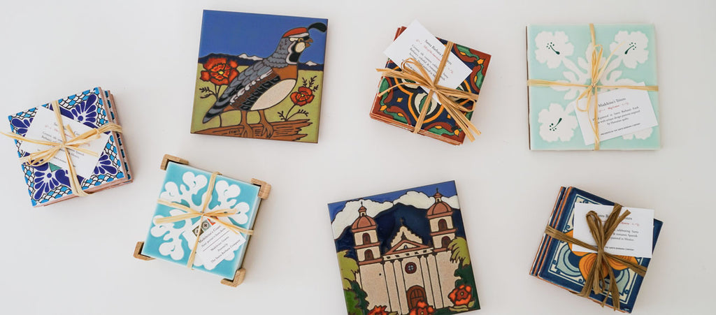 Santa Barbara Products for Welcome Gifts! Ceramic Tile Coasters and Trivets