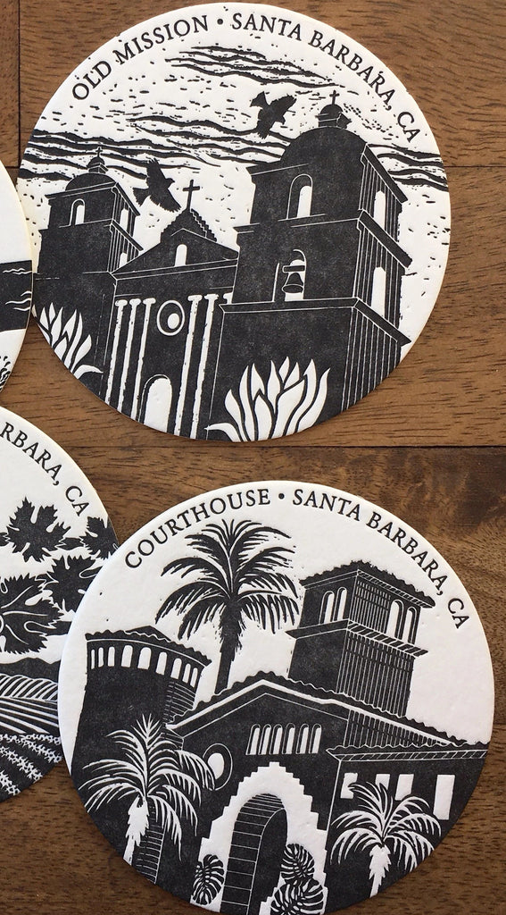 Santa Barbara Letterpress Coaster Set (Black)
