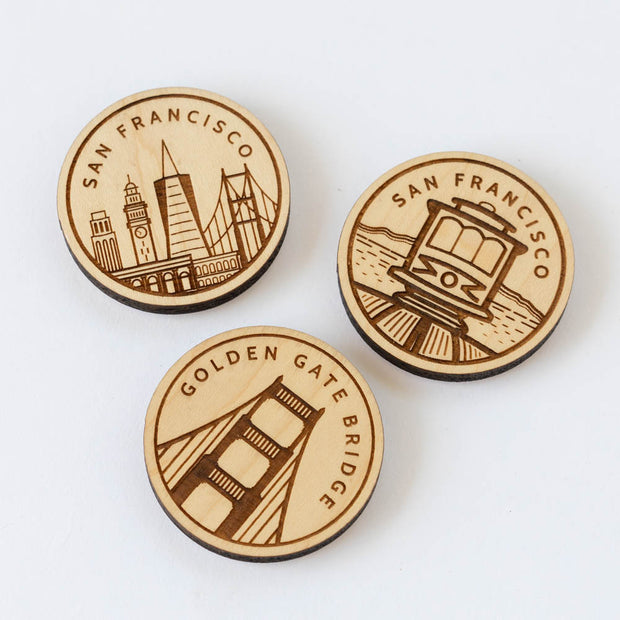 San Francisco Skyline Wood Magnet