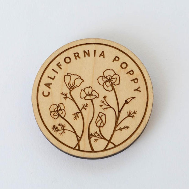 California Poppy Wood Magnet
