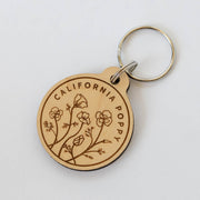 California Poppy Wood Keychain