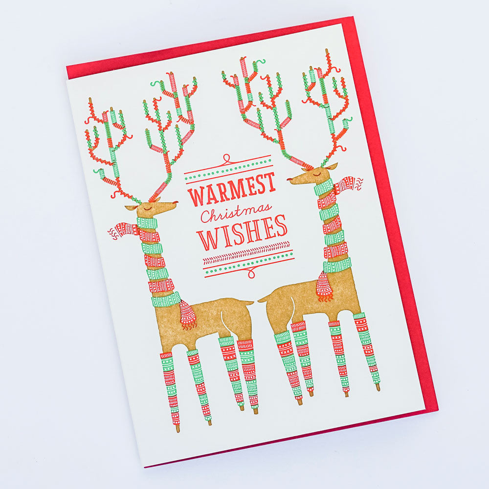 Warmest Christmas Wishes Reindeer Card Santa Barbara Company