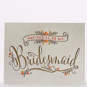 Will You Be My Bridesmaid Corsage Letterpress Card Single Note Cards - Elum, The Santa Barbara Company - 1