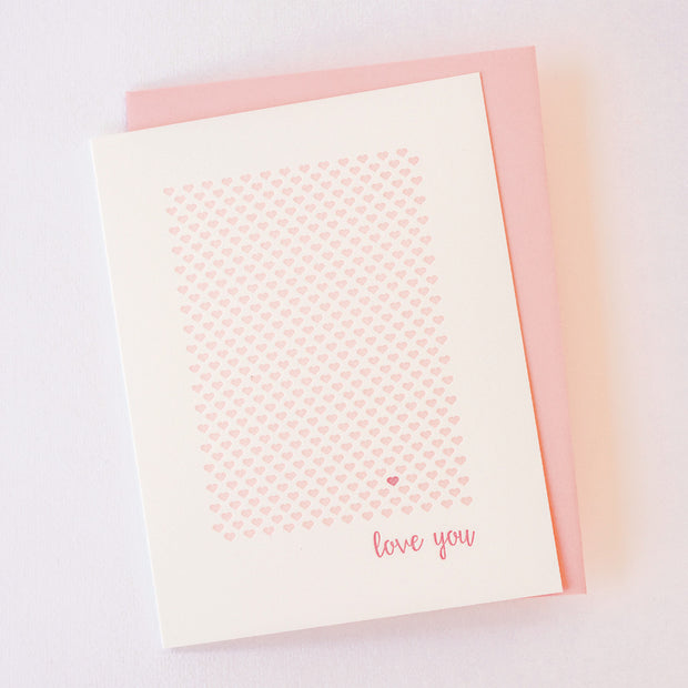 Love You Hearts Letterpress Card