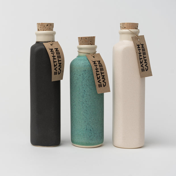 Ceramic Canteen Water Bottle in Black