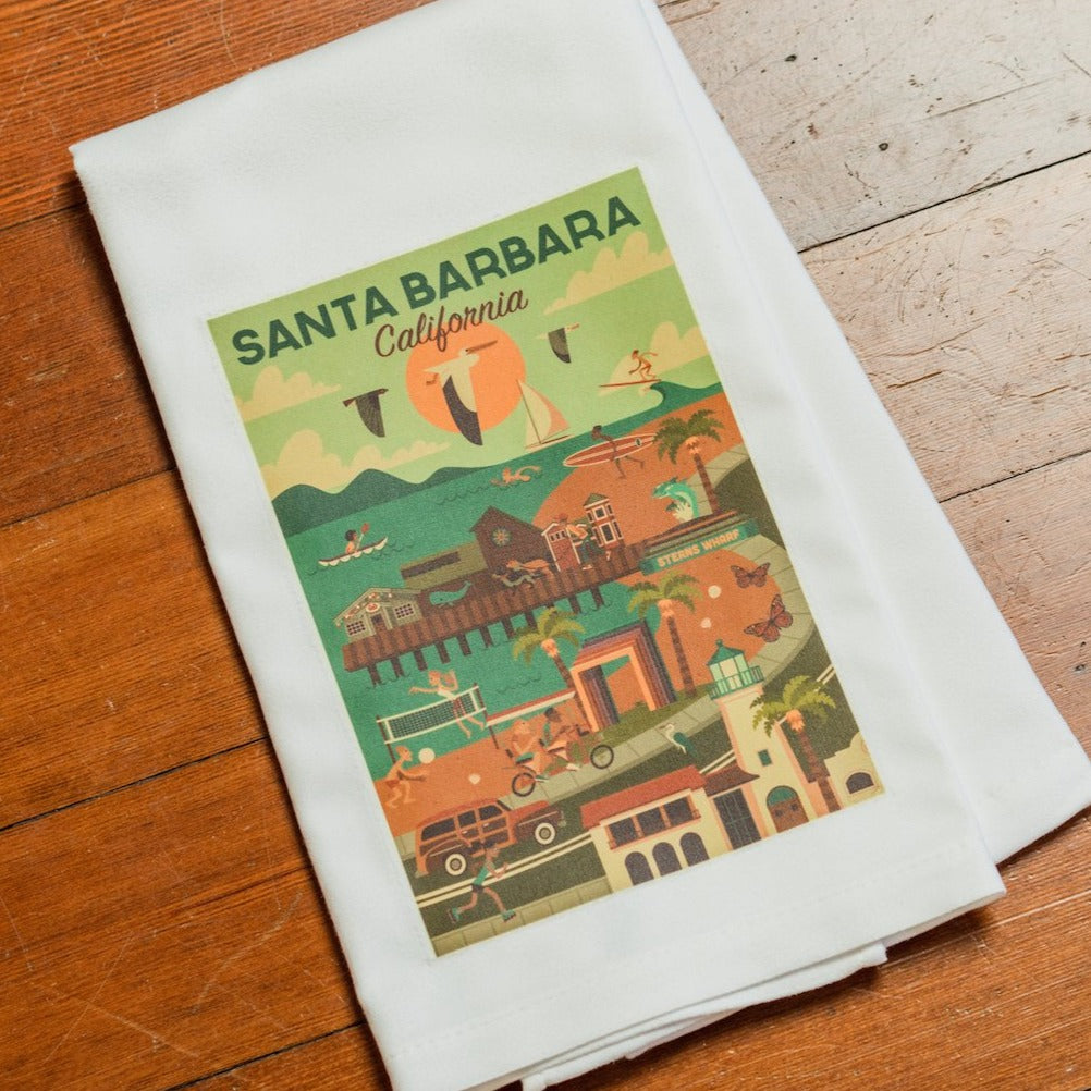 Santa Barbara Scene Kitchen Towel