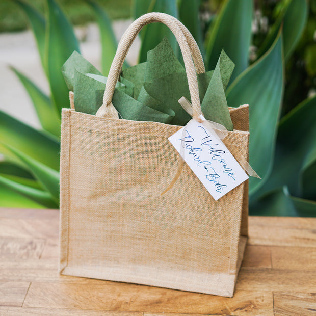 Simple Jute Tote with Calligraphy Presentation