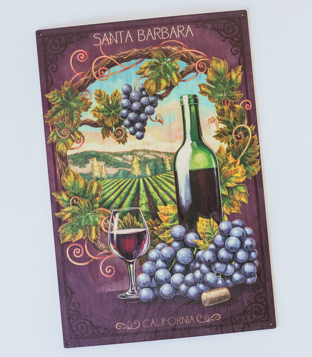 Santa Barbara Wine Country Wood Poster