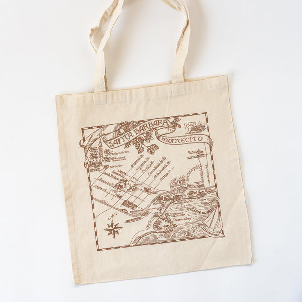 Taupe Santa Barbara Illustrated Map Tote