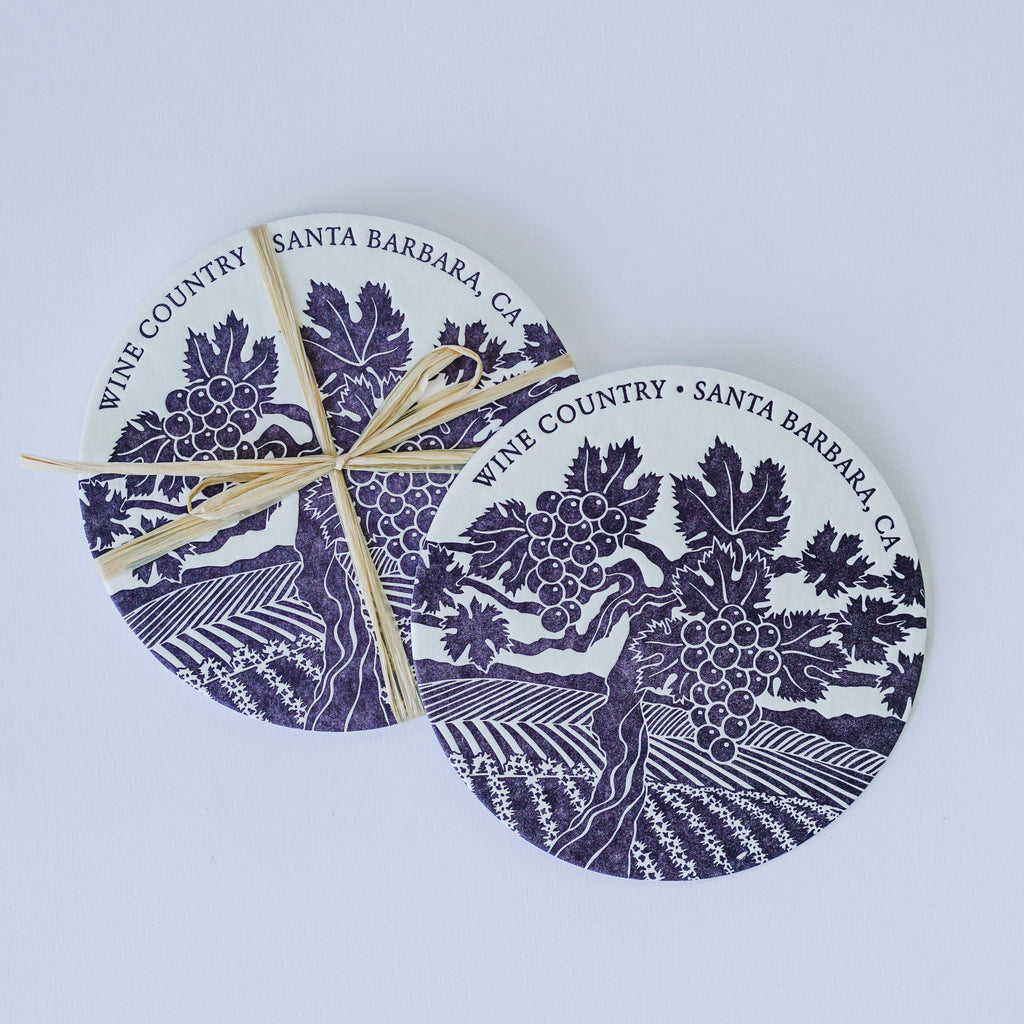 Wine Country Letterpress Coasters