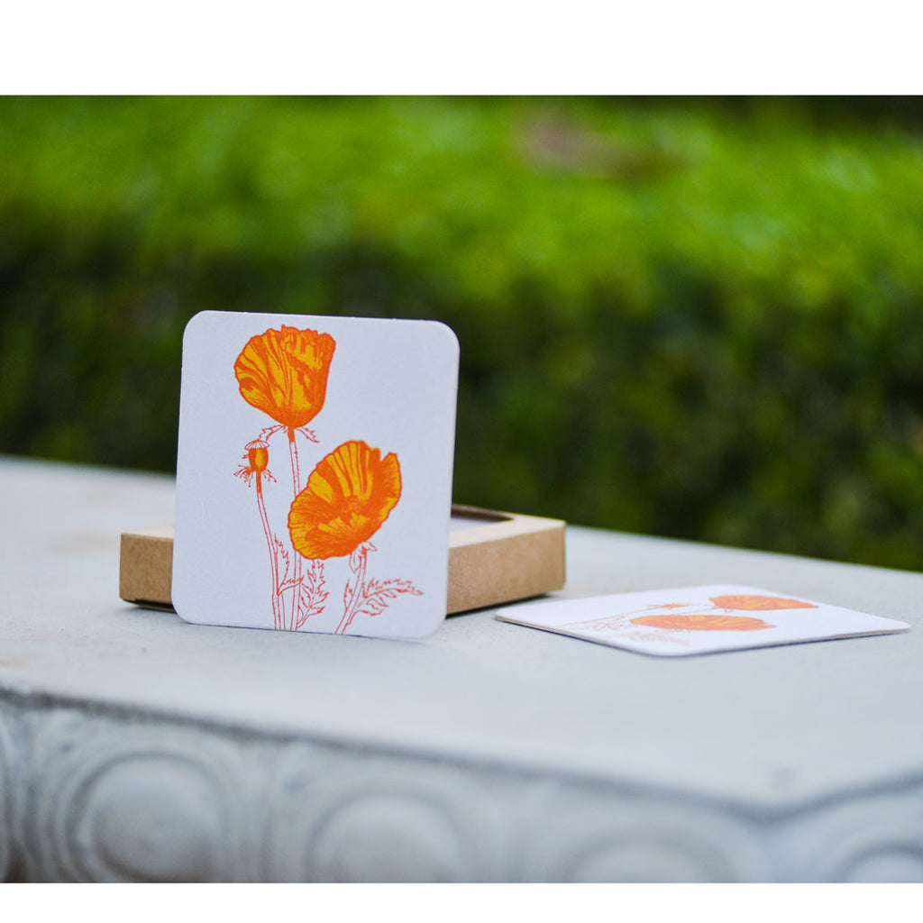 Poppy Letterpress Coasters Coasters & Trivets - Sugarcube Press, The Santa Barbara Company - 1