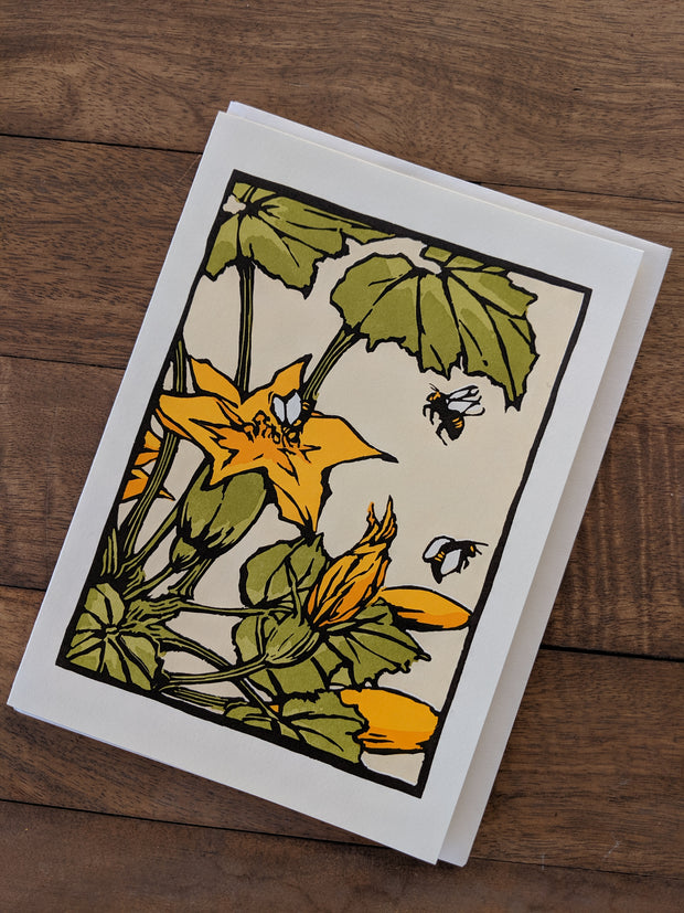 Squash Flower Letterpress Greeting Card