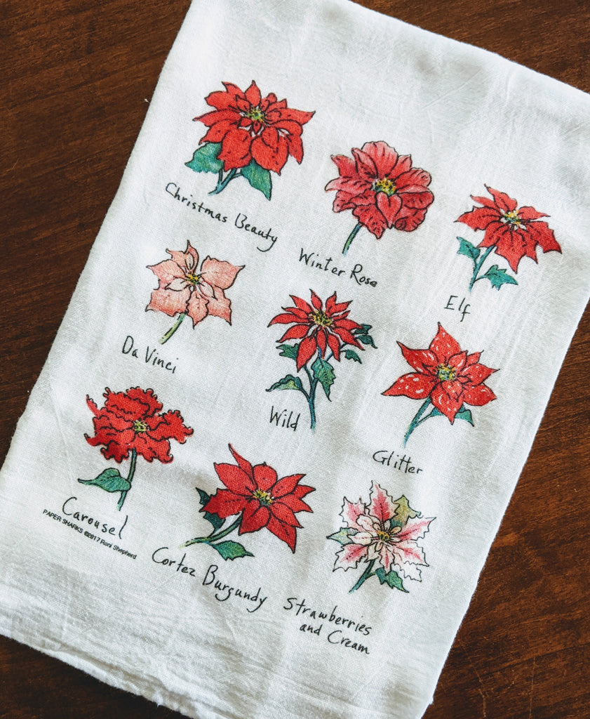 Poinsettias Flour Sack Towel