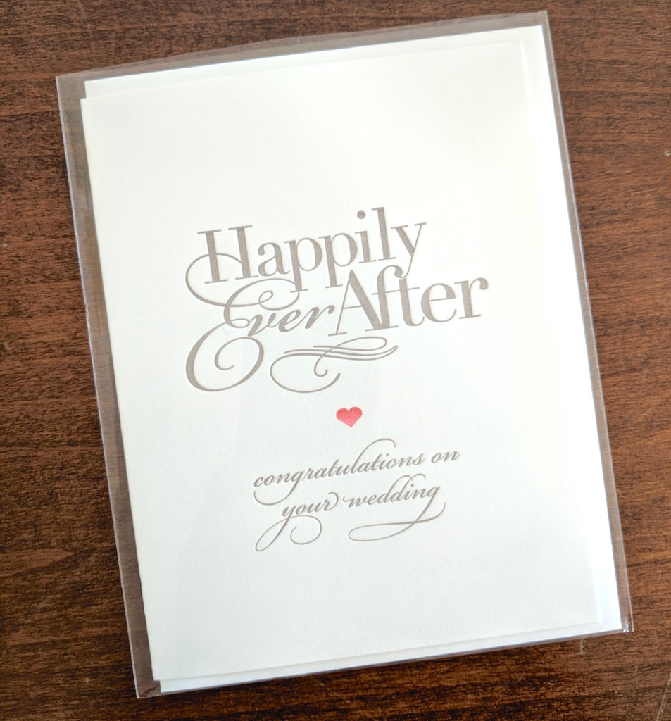 Happily Ever After Congratulations Letterpress Card