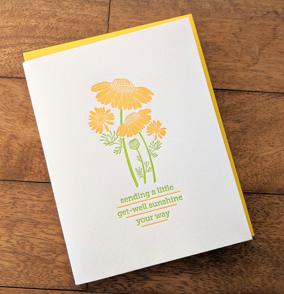 Get Well Sunshine Letterpress Card