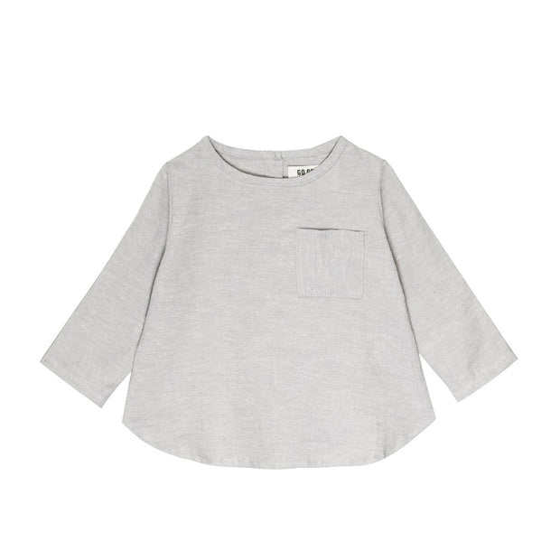 Dove Gray Long Sleeve Placket Top