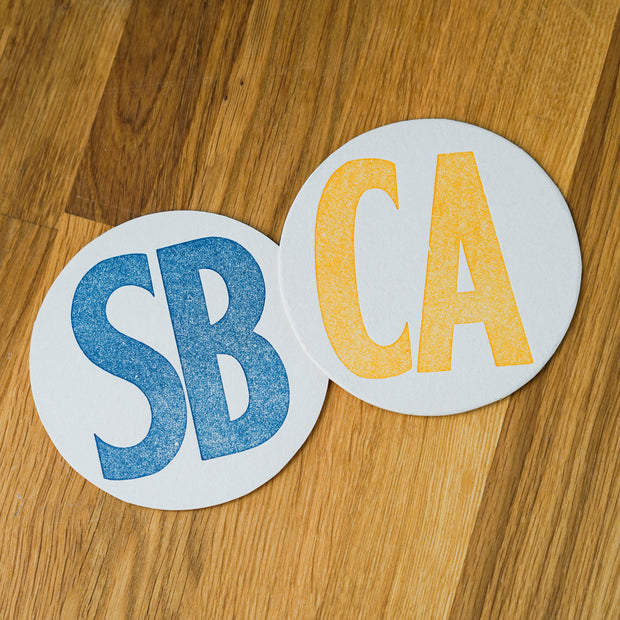 SB CA Letterpress Coasters Coasters & Trivets - Folio Press, The Santa Barbara Company