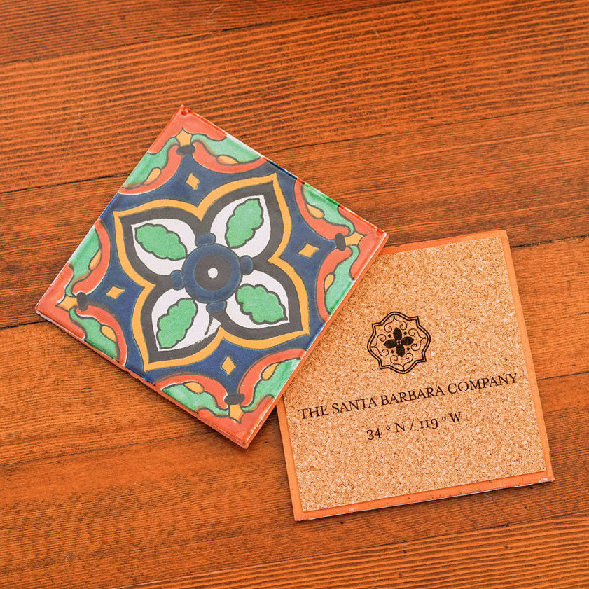 Amina Ceramic Tile Coasters Spanish Style Tabletop Santa Barbara Company