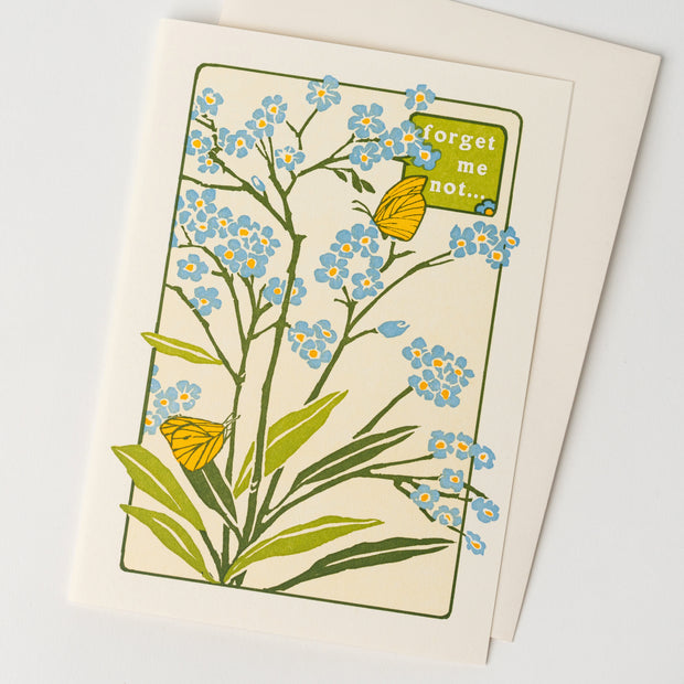 Forget Me Not Floral Letterpress Greeting Card