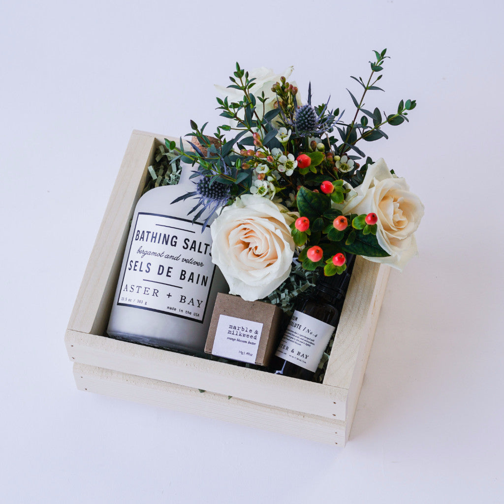 Relaxation bath gift with flowers hand delivery in santa barbara relaxation bath gift with flowers floral gifts the santa barbara company floral gifts the negle Choice Image