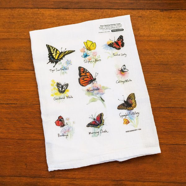 Butterfly Flour Sack Towel Kitchen Towels   Papersharks, The Santa Barbara  Company