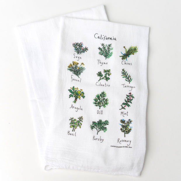 California Herbs Flour Sack Towel