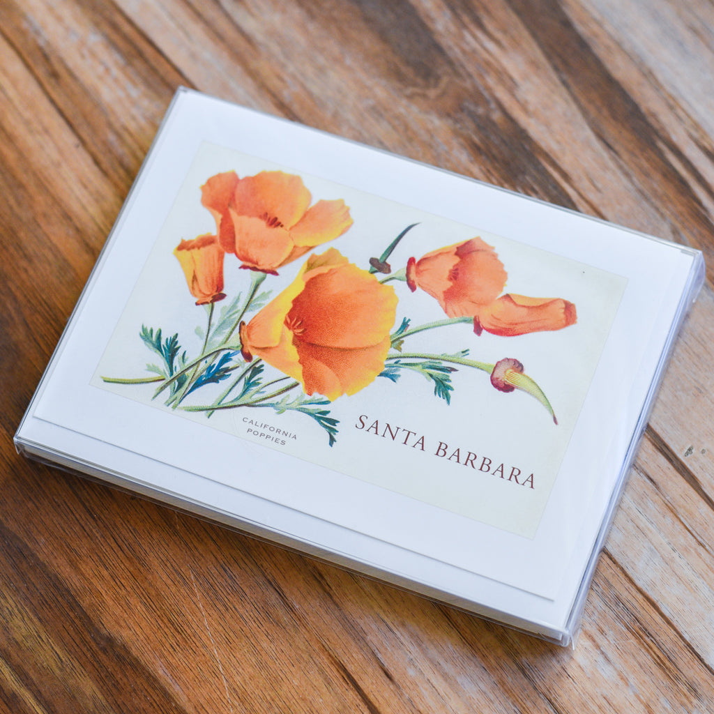 Santa Barbara Poppies Vintage Note Cards Santa Barbara Note Cards - Found Image, The Santa Barbara Company