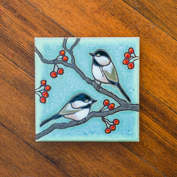 Chickadee Bird Trivet Coasters & Trivets - Pacific Blue Tile, The Santa Barbara Company