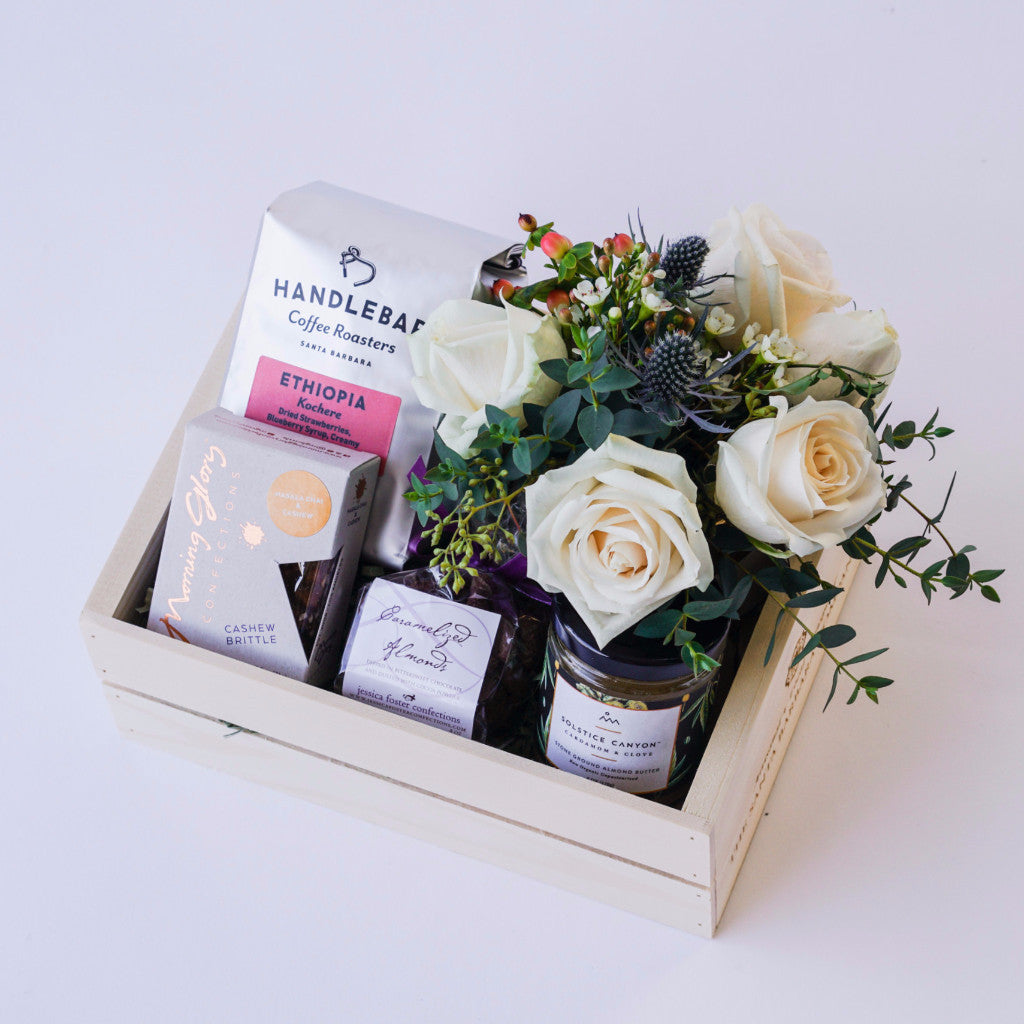 Coffee and treats gift box with flowers hand delivery in santa coffee and treats gift box with flowers floral gifts the santa barbara company floral gifts negle Images