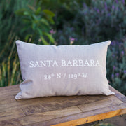Santa Barbara Latitude / Longitude Pillow in Sand