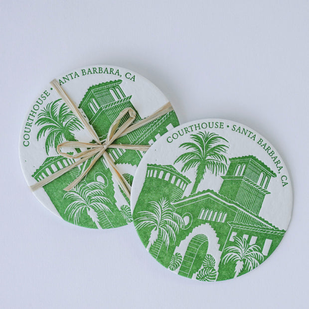 Courthouse of Santa Barbara Letterpress Coasters