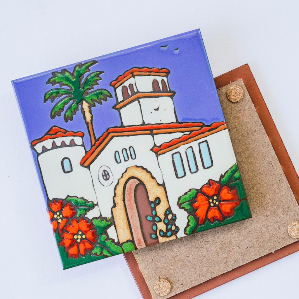 Great Gift Idea or Souvenir Santa Barbara County Courthouse Wood Engraved Coaster Made in the USA of Birch