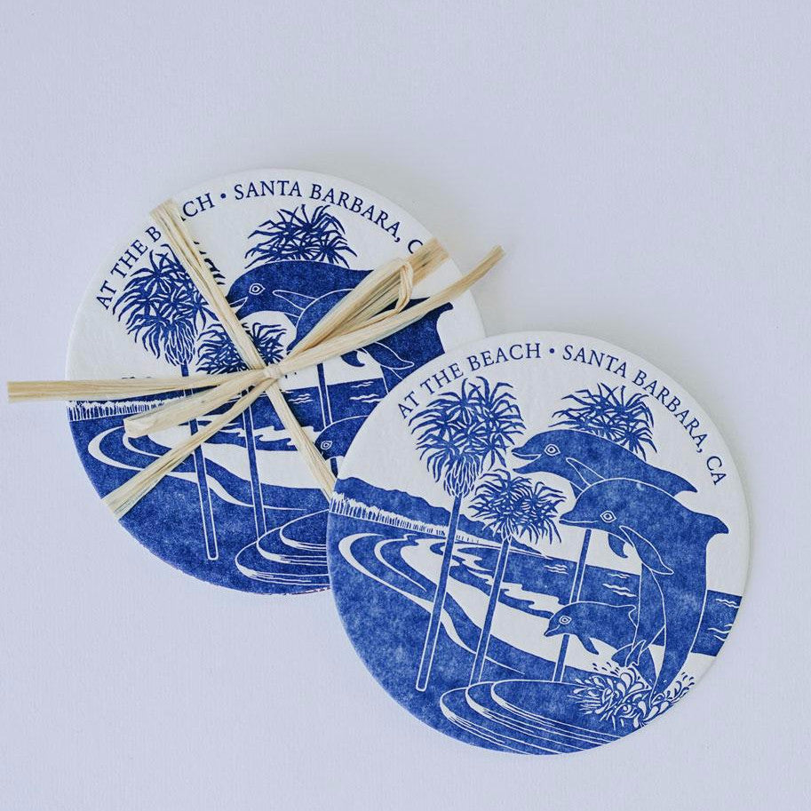 At The Beach Dolphin Letterpress Coasters