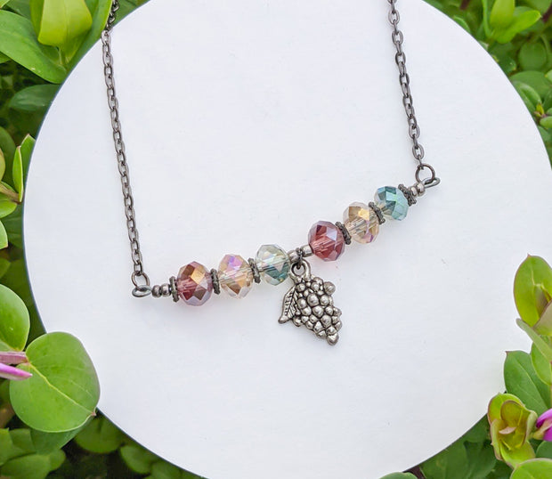 Cheers Wine Grapes Necklace