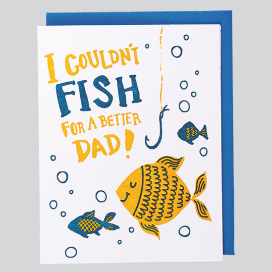 Fish for a Dad Father's Day Letterpress Card