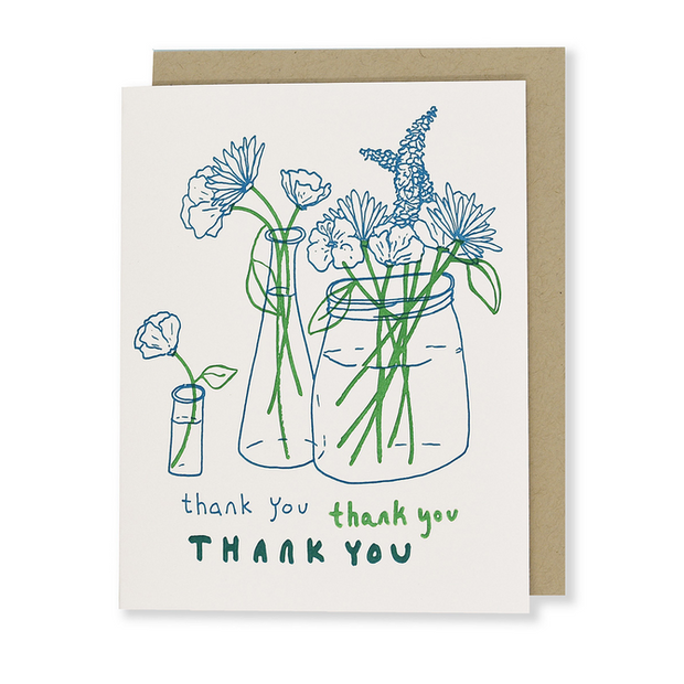 Thank You Flowers Letterpress Greeting Card