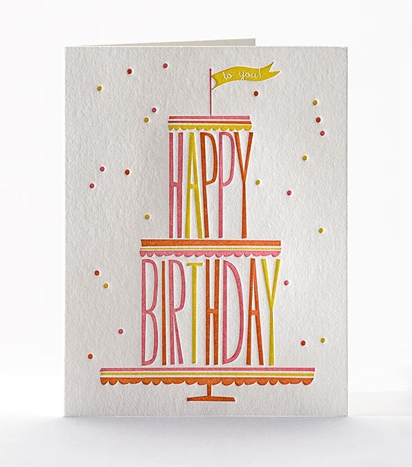 Happy Birthday Cake Tower Letterpress Card