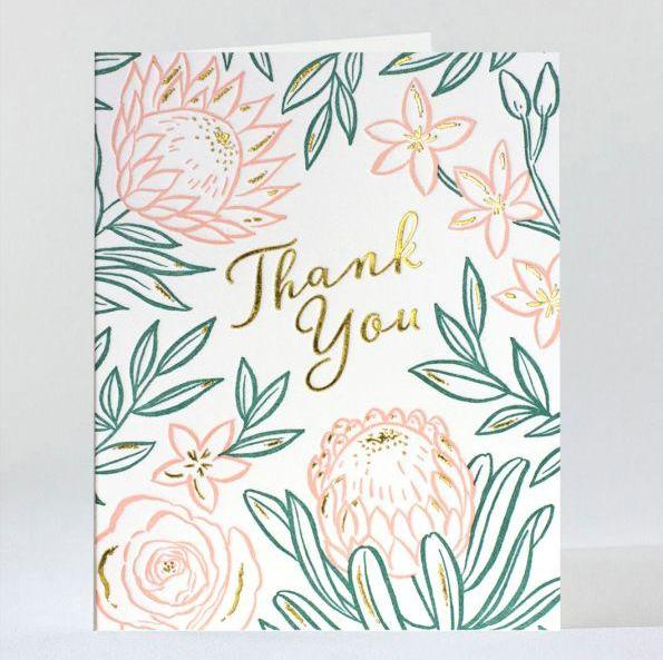 Blooms Thank You Letterpress Note Card