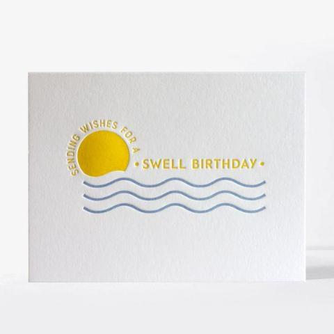 Sunny Swell Birthday Letterpress Note Card