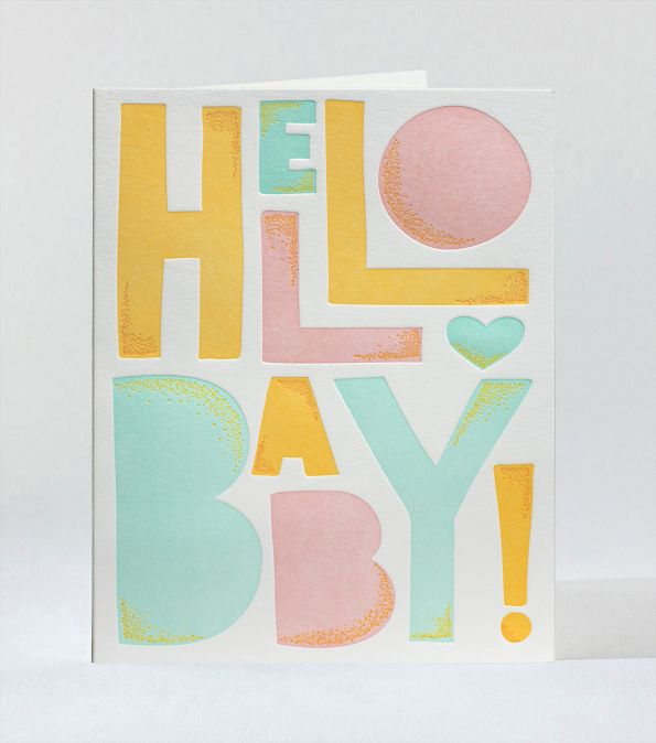 Hello Baby Letterpress Card