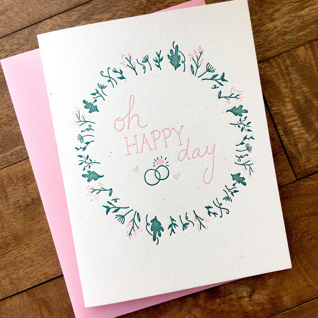 Happy Day Delicate Wedding Card