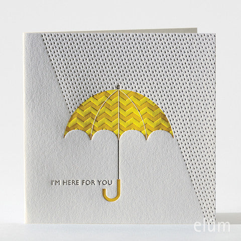Umbrella Letterpress Card Single Note Cards - Elum, The Santa Barbara Company
