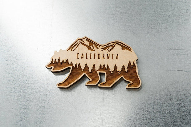 California Bear Wood Magnet