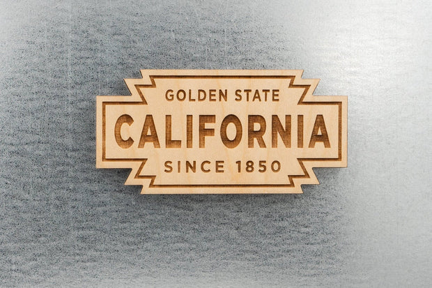 California Retro Badge Wood Magnet