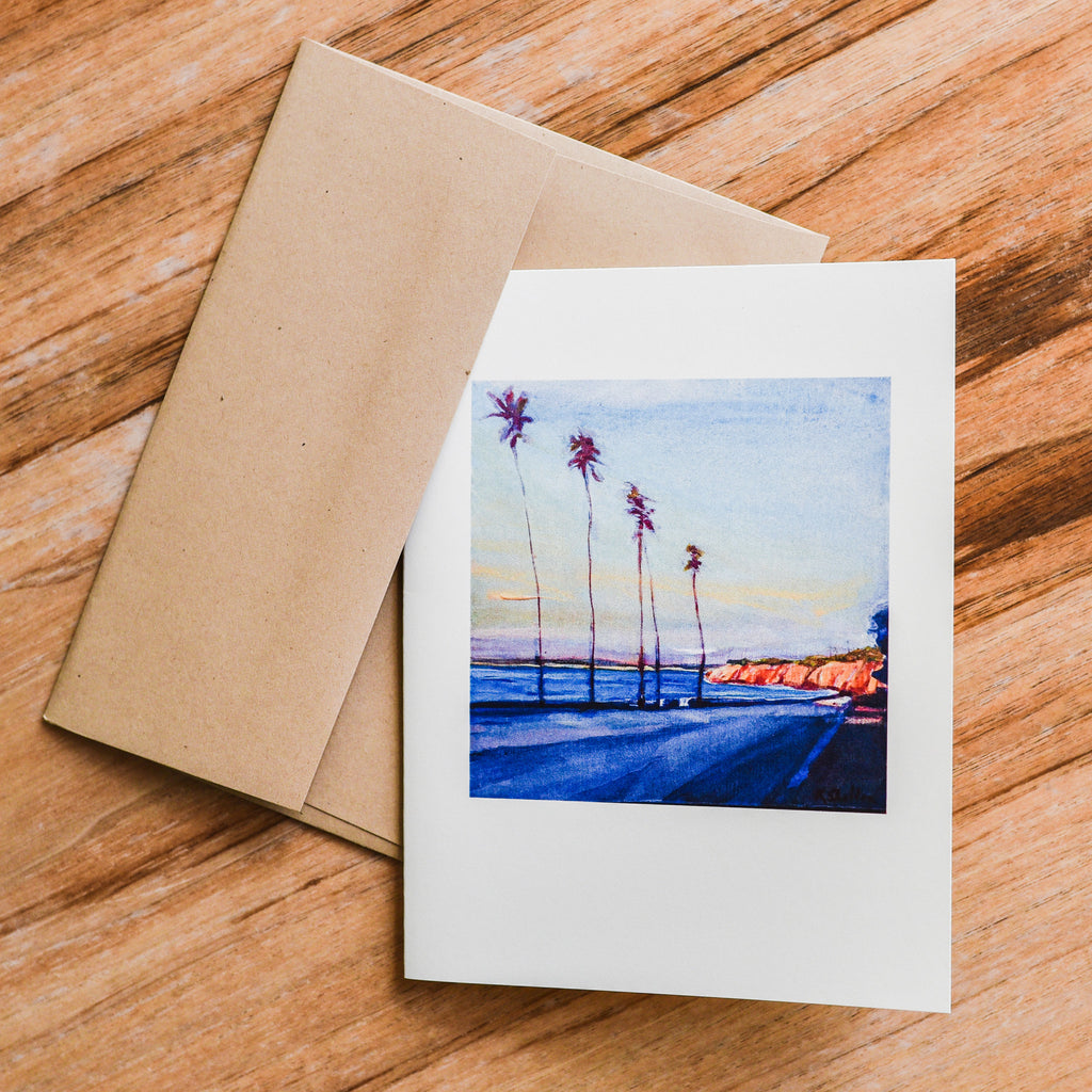Channel Drive Palms Individual Note Card Santa Barbara Note Cards - Karin Shelton, The Santa Barbara Company
