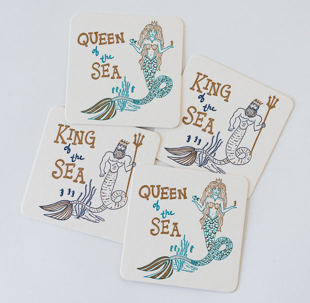 King & Queen of the Sea Letterpress Coasters