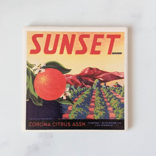 Sunset Citrus Label Coasters