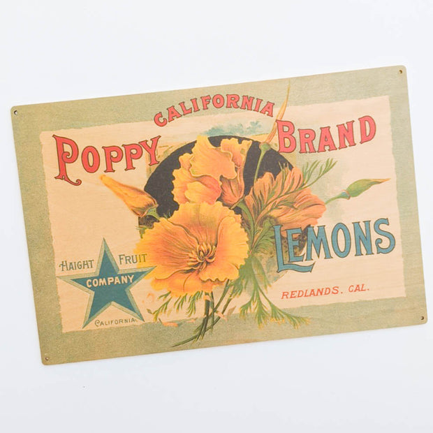 California Poppy Brand Citrus Label Vintage Wood Sign