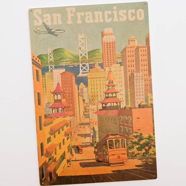 San Francisco Vintage Wood Poster